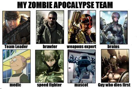 Zombie Apocalypse Team Meme - zombie apocalypse team by blakcatink on deviantart