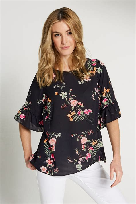 floral print sleeve top floral print fluted sleeve top
