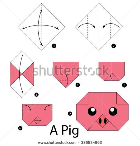 Step By Step How To Make Origami - quot pig figure quot stock photos royalty free images vectors