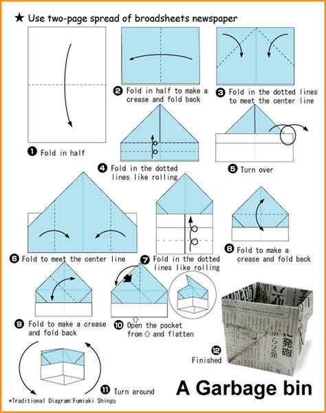 How To Fold A Box Out Of Paper - paper bin origami origami zero waste