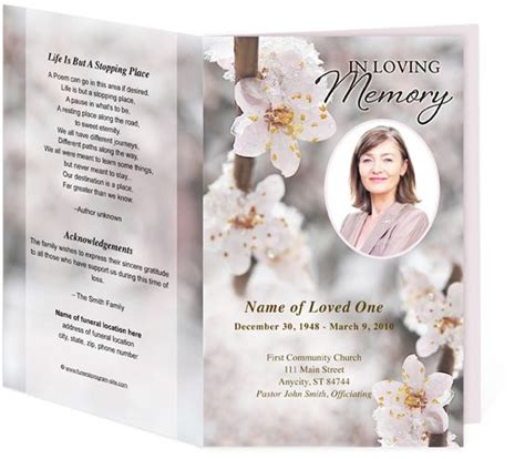 sle layout design for tarpaulin funeral program sles winter themed blossom template