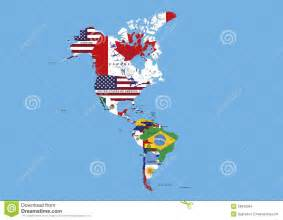 middle and south america flags map names stock