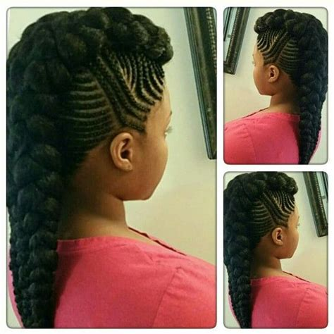 multilayer cornrows cardi b mohawk natural hair style braids pinterest
