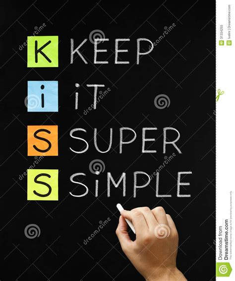 simple white writing keep it simple label on blue arrow 3d stock