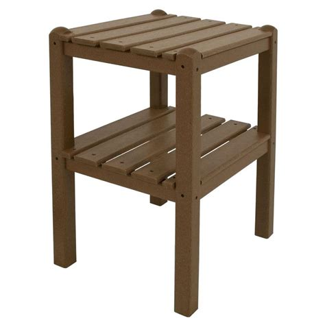 Side Table Shelf by Polywood Teak 2 Shelf Patio Side Table Twstte The Home Depot