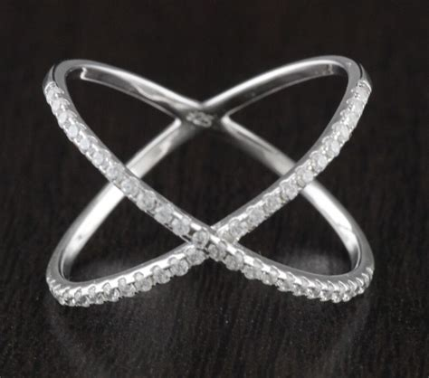 Cz Silver X Ring womens solid 925 sterling silver cz criss cross x ring