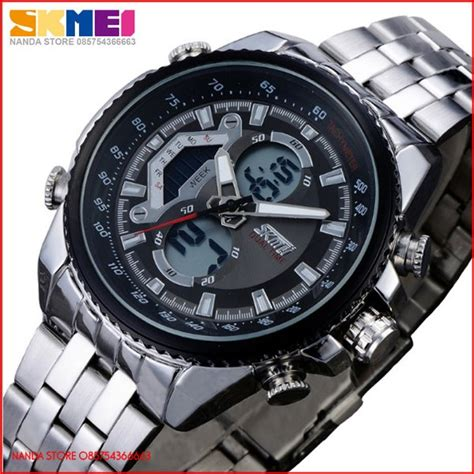 Jam Tangan Jam Tangan Pria Casual Skmei 2208 Original Leather jual jam tangan pria skmei casual dual time zone