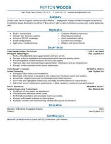 best client server technician resume exle livecareer