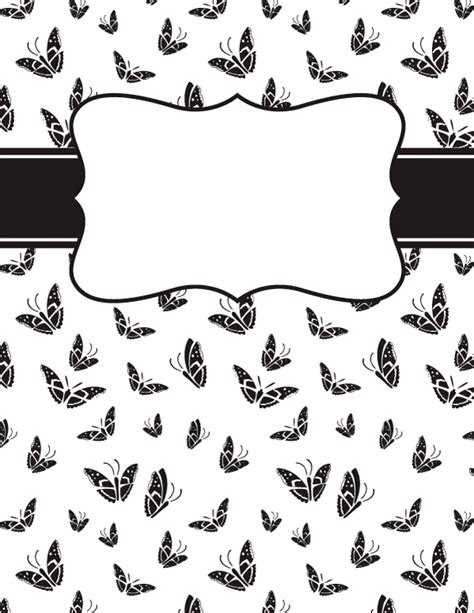 black and white binder cover templates free printable black and white butterfly binder cover