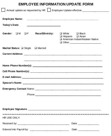 update contact information form template sle employee update form 9 exles in word pdf