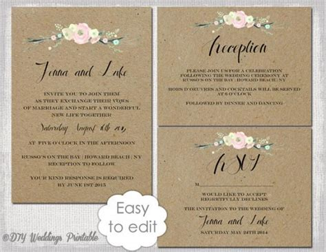wedding reception invite layout 3 rustic wedding invitation templates diy quot rustic flowers quot printable wedding invitation template