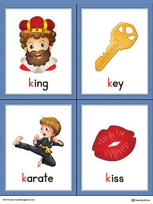colors starting with k letter k words and pictures printable cards king key