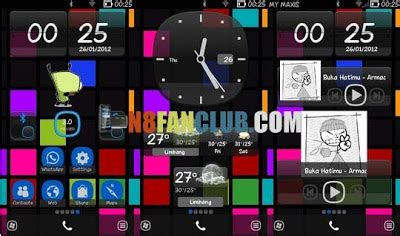 themes n8 cool girl symbian phone blue wp theme transparent widgets