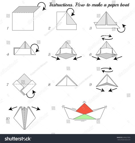 How To Fold A Paper Ship - how make paper ship paper stock vector