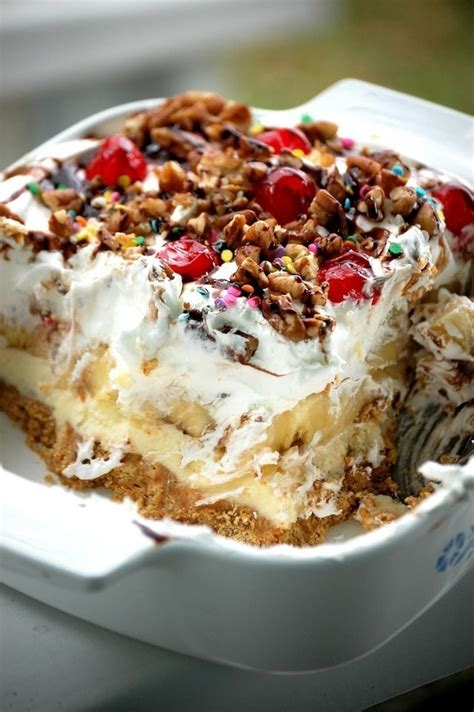 No Bake Banana Split Dessert No Bake Banana Split Pie Yummies