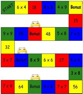 printable math division board games multiplication facts games