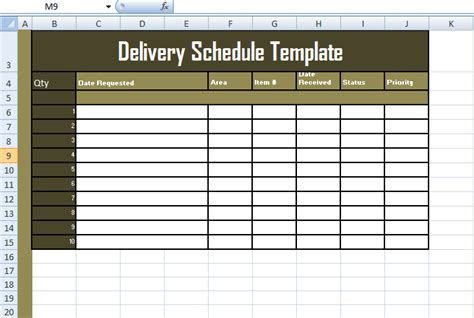 make a schedule template delivery schedule template excel format excelbuz