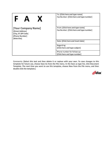 page template default use a custom fax cover sheet with faxing efax 174