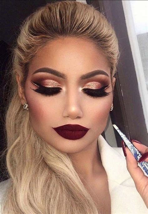 tutorial lipstick la girl crazy brown and rose gold cut crease with a dark red lip