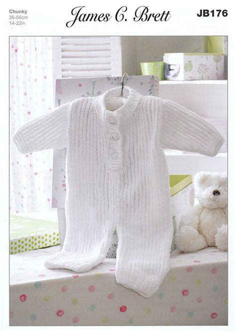 knitted all in one baby suit all in one suit in c brett flutterby chunky jb176
