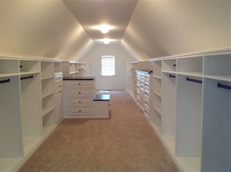 Long Narrow Walk In Closet vaulted ceiling closets traditional closet chicago