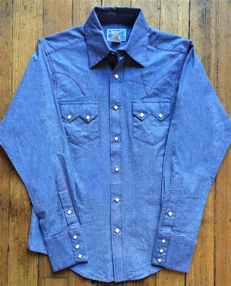 rockmount blue chambray slim fit western shirt