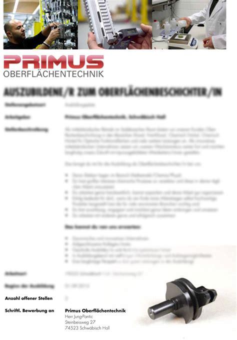 Bewerbung Anrede Team Karriere Primus Oberfl 228 Chentechnik