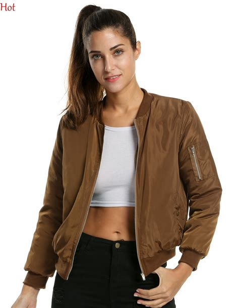 Jaket Bomber Motor Browngreen Army 2016 winter flight army green bomber jacket womens coat clothes thin