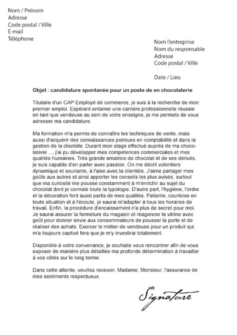 Exemple Lettre De Motivation Gratuite Vendeuse Lettre De Motivation Vendeuse En Chocolaterie Mod 232 Le De
