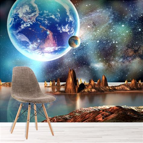 alien landscape wall mural planets space photo wallpaper