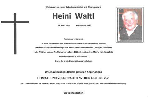 Muster Einladung Trauerfeier Huvtv Olching Trauert Um Ehrenvorstand Waltl Heini Huosigau