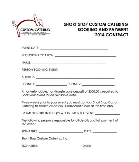 sle catering contract template free reception catering contract pdf free catering