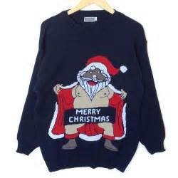 naughty flasher santa tacky ugly christmas sweater the