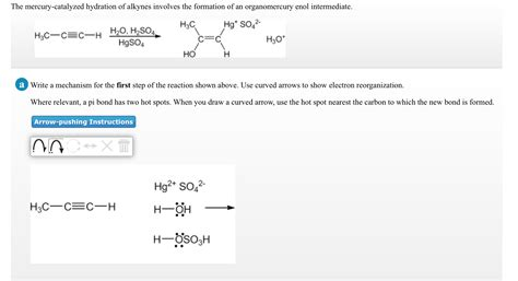 hydration of alkynes solved the mercury catalyzed hydration of alkynes involve