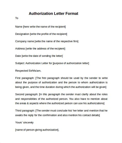 Permission Letter To Join A Company Sle Letter Of Authorization 9 Free Documents In Pdf Word