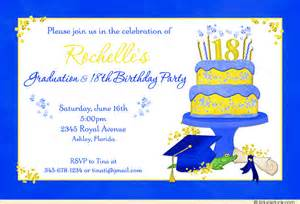 blue 18th birthday graduation invitation bright yellow
