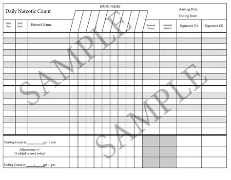 Controlled Substance Log Sheet Template Aiyin Template Source Narcotic Count Sheet Templates