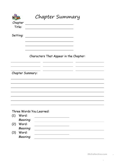 Summary And Idea Worksheet 1 Answers by Chapter Summary Worksheet Free Esl Printable Worksheets