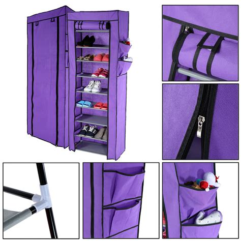 dust proof multi function 10 tier shoe cabinet storage racks purple lazada malaysia