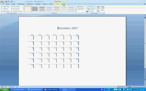 how to make a calendar in word 2007 ms word 2007 calendar