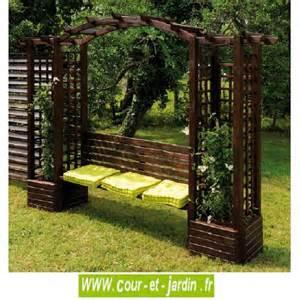 pergola de jardin florence en bois avec banc