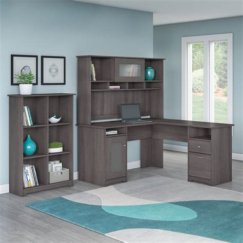 cabot l shaped desk with hutch cabot l shaped desk with hutch and 6 cube organizer in