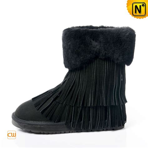 black shearling fringe boots for cw314426