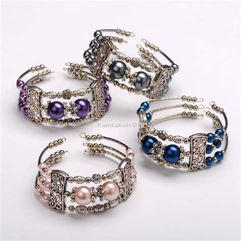 glass pearl bead bangles steel bracelet memory wire with