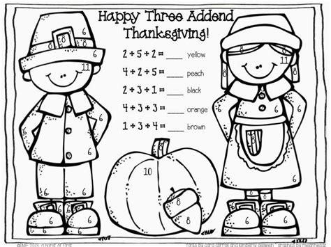 thanksgiving coloring pages for first grade three addend color by number free secondgradesquad com