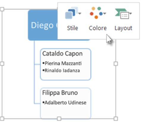layout organigramma powerpoint modificare il colore lo stile e il layout di un