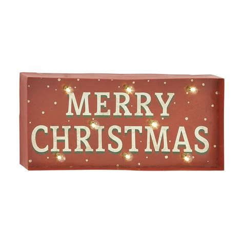 shop woodland imports pre lit merry christmas sign with