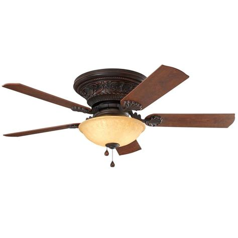 flush mount ceiling fan with light shop harbor breeze lynstead 52 in specialty bronze indoor