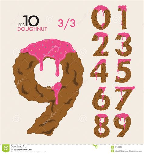 Donuts Number 3 3 set of cake doughnut vector numbers 0 9 stock image