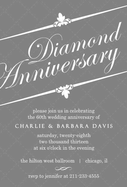 Elegant Gray Diamond 60th Anniversary Invitation   60th